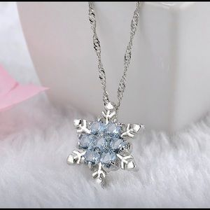 Elegant Blue Crystal  Silver Necklace